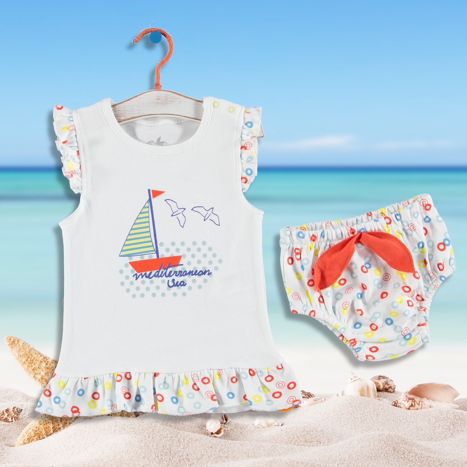 Ebebek Newborn Fashion Club Fun Summer Baby Girl Ruffled Tshirt