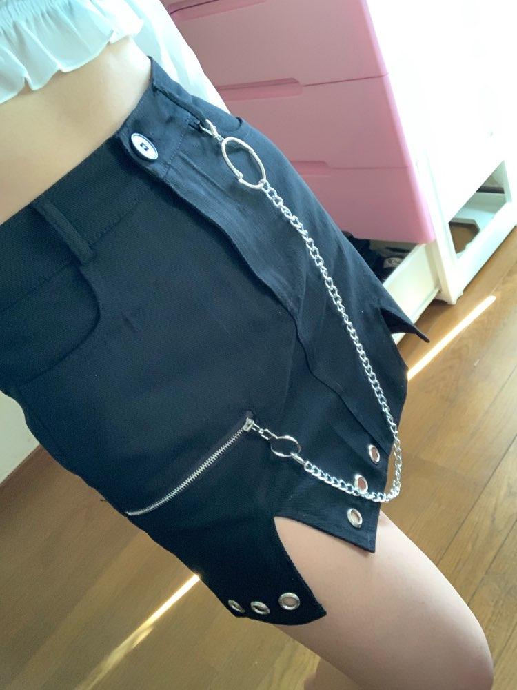 Black Punk Style Denim Skirt Streetwear Metal Chain Patchwork High Waist Skirts Womens Elelet Zipper Split A Line Skirt photo review