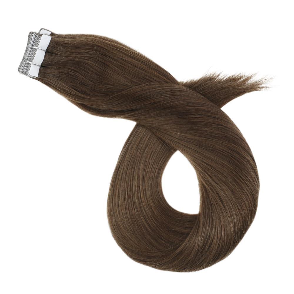 Накладные волосы на клею, натуральные человеческие волосы, каштановый коричневый цвет, 12-24 дюйма, прямые накладные волосы на ленте