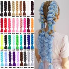 Pojedynczy kolor włosy plecione Jumbo warkocze przedłużanie włosów kolorowy warkocz włosy syntetyczny warkocz włosy kolorowe włosy plecione dla dziewczynki tanie tanio HONG SHI JIA Włókno odporne na wysoką temperaturę CN (pochodzenie) Warkocze Jumbo 1 nici opakowanie Realny kolor