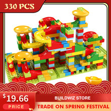 330 pièces marbre course course petit bloc labyrinthe balle piste blocs de construction entonnoir glisser blocs bricolage assemblage briques jouet pour enfants cadeau