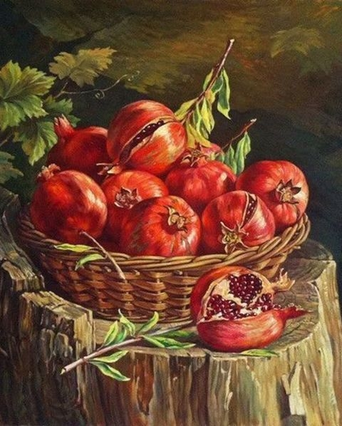 Painting By Numbers Basket Garnet, 40x50 Cm