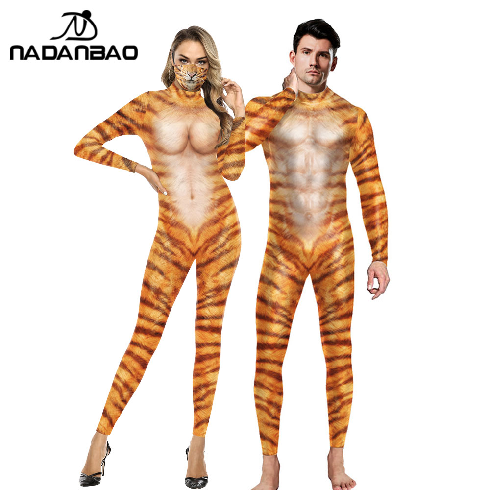 NADANBAO Cosplay Tiger Pattern Bodysuits Novelty 3D Animal Print Jumpsuit Men Women Clothing Long Sleeve Slim Sexy Bodysuit