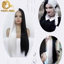 Yomagic perucas frontal, cabelo sintético natural perucas cabelo, metade preta, cor branca, sintética, sem cola