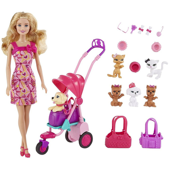 Barbie doll walk with pets