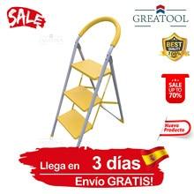 Escaleras de Acero Plegable 2 y 3 Peldaños,Riser,Escalera Decorativa Plegable Pared,Altillo,150KG Empuñadura de Mano,Herramiento