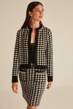 Joinus Houndstooth Pattern Knitted Jacket With Chain Detail Woman Cardigan Black куртка женская kimono весна sexy