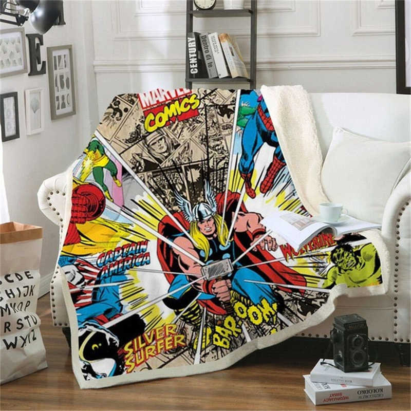 Anime Avengers Thor Printed Sherpa Blanket Couch Sofa Cover Travel Youth Bedding Outlet Fleece Blanket Bedspread Thick Tapestry