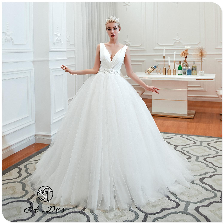 NEW 2020 St.Des Snow White Russian Ivory A-line V-neck Satin Sleeveless Floorlength Designer Elegant Beauty Queen Wedding Dress