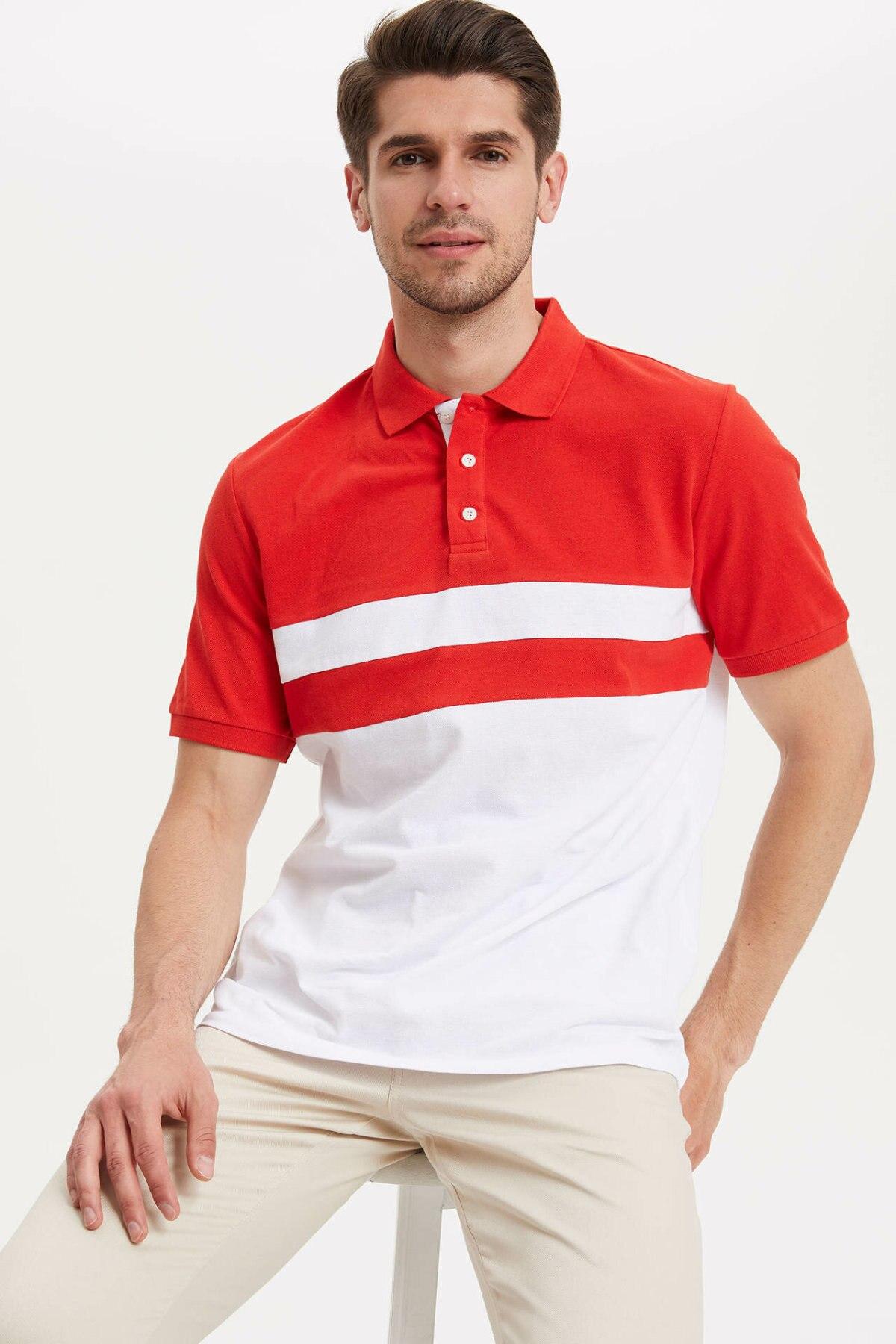 DeFacto Man Fashion Polo Shirt Casual Fashion Patchwork Striped Short Sleeve High Quality Polo Shirt New -L4977AZ19SM