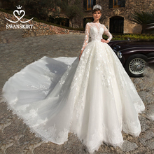 Swanskirt luxo vestido de casamento manga longa 2020 apliques vestido de baile capela trem vestido de noiva plus size noiva n120