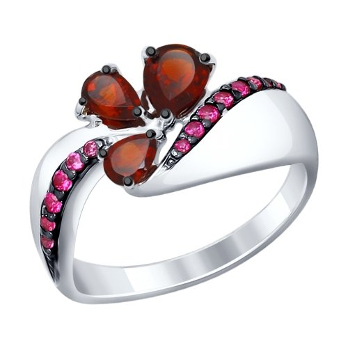 Ring. Sterling Silver With Garnets And Red Cubic Zirconia