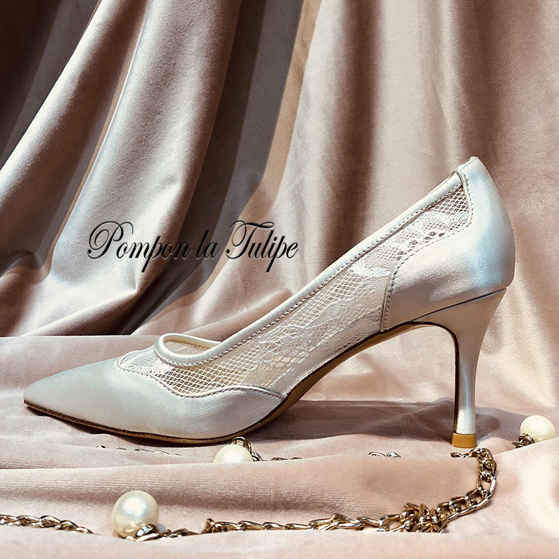 MNK 930059 Lace Mesh Silk Elegant Sexy Elegant Sheepskin Pumps 6CM Heels Chic Stilettos Party Wedding Ladies Fashion Women Shoes in Women 39 s Pumps from Shoes