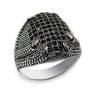 Mikro czarny cyrkon kamień pazur Model męska srebrny pierścień biżuteria (Onyx vintage Aqeq prezent wszystkie rozmiary)-Made in Turkey