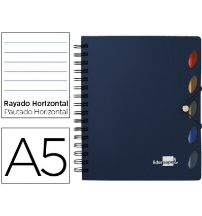SPIRAL NOTEBOOK LIDERPAPEL A5 MICRO EXECUTIVE PLASTIC CAP 100H 80 GR HORIZONTAL 5 STRIPPERS WITH GOMILLA BLUE