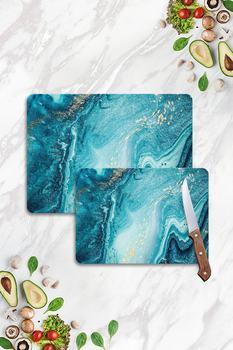 Niebieski marmur wyglądający płyta do cięcia szkła zestaw dwóch sztuk projekt kuchnia antybakteryjna płyta do cięcia szkła 20 #215 30 i 30 #215 40 powściągliwy tanie i dobre opinie No Brand TR (pochodzenie)