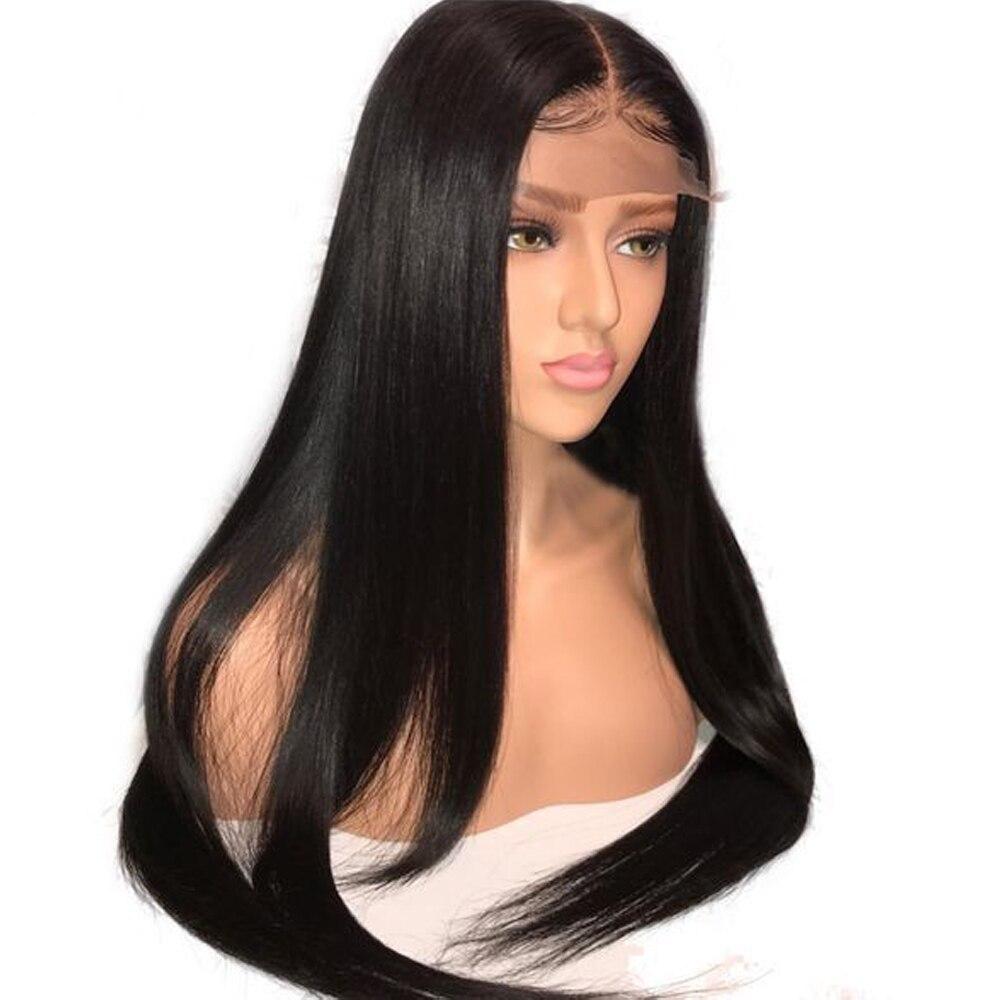 4*4 perucas do cabelo humano do fechamento do laço para a parte média da mulher perucas do cabelo humano perplucked com cabelo do bebê cabelo brasileiro em linha reta não-cabelo remy