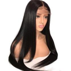 4*4 Синтетические волосы на кружеве человеческих волос парики для черные женские средней части 150% плотность Синтетические волосы на