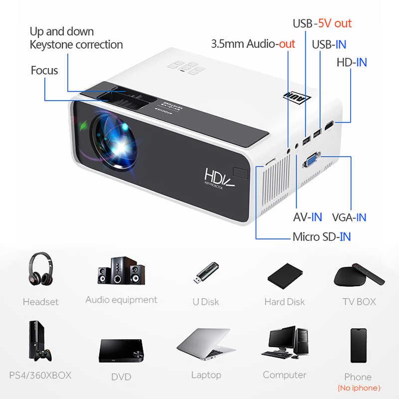AUN HD Mini Proyektor D60/S 1280X720P,LED Android WiFi Proyektor Video Home Theater 3D Penuh HD Proyektor untuk Bioskop