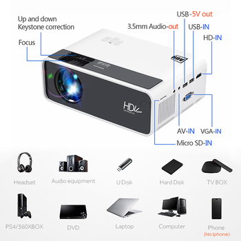 Aun hd projector d60 | 1280×720 resolution mini led video 3d projector for full hd home cinema.hdmi (optional android wifi d60s)