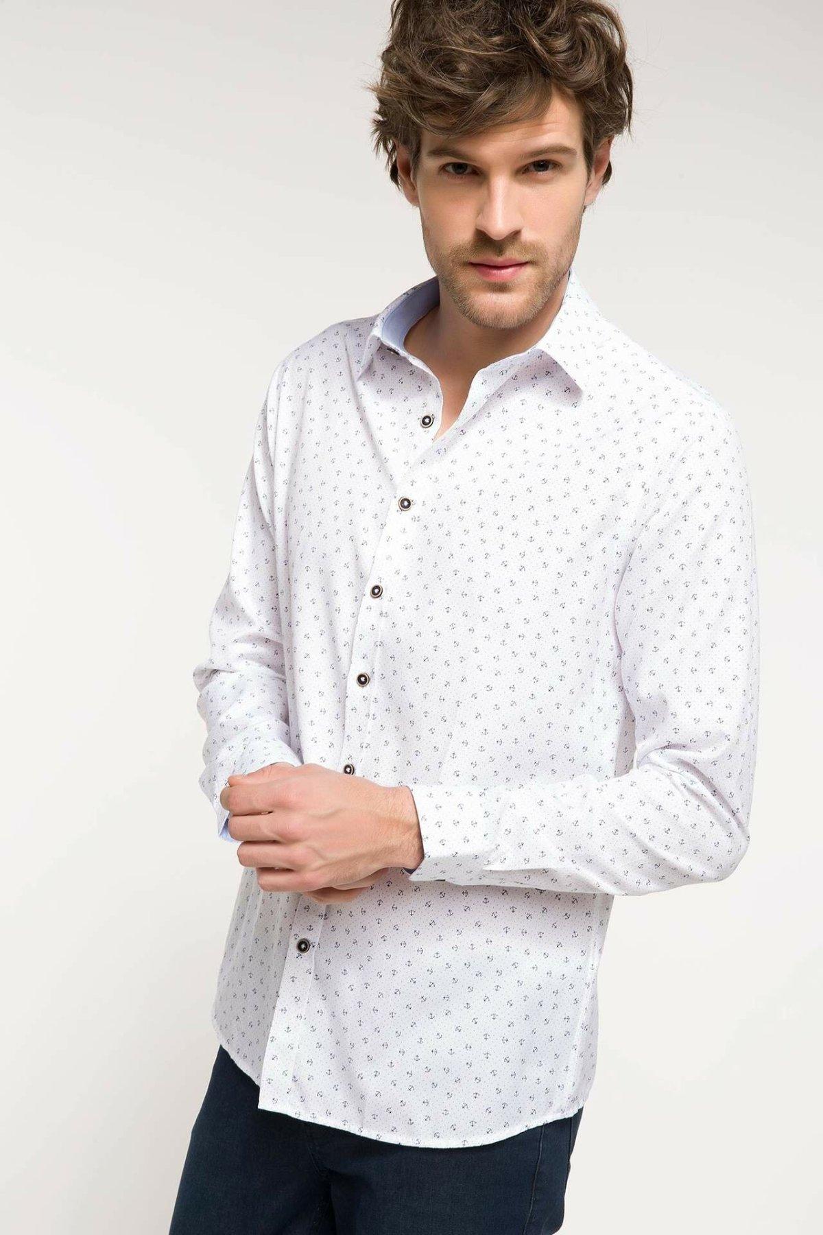 DeFacto Fashion Man Long Sleeve Shirt Formal Male Dot Pattern Tops High Quality Men's High Quality Comfort Shirts - I7712AZ18SM