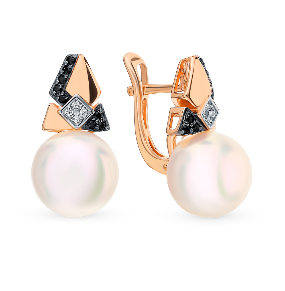 Gold earrings with cubic zirconia and pearl SUNLIGHT test 585 antique gold color simulated pearl rhinestone earrings