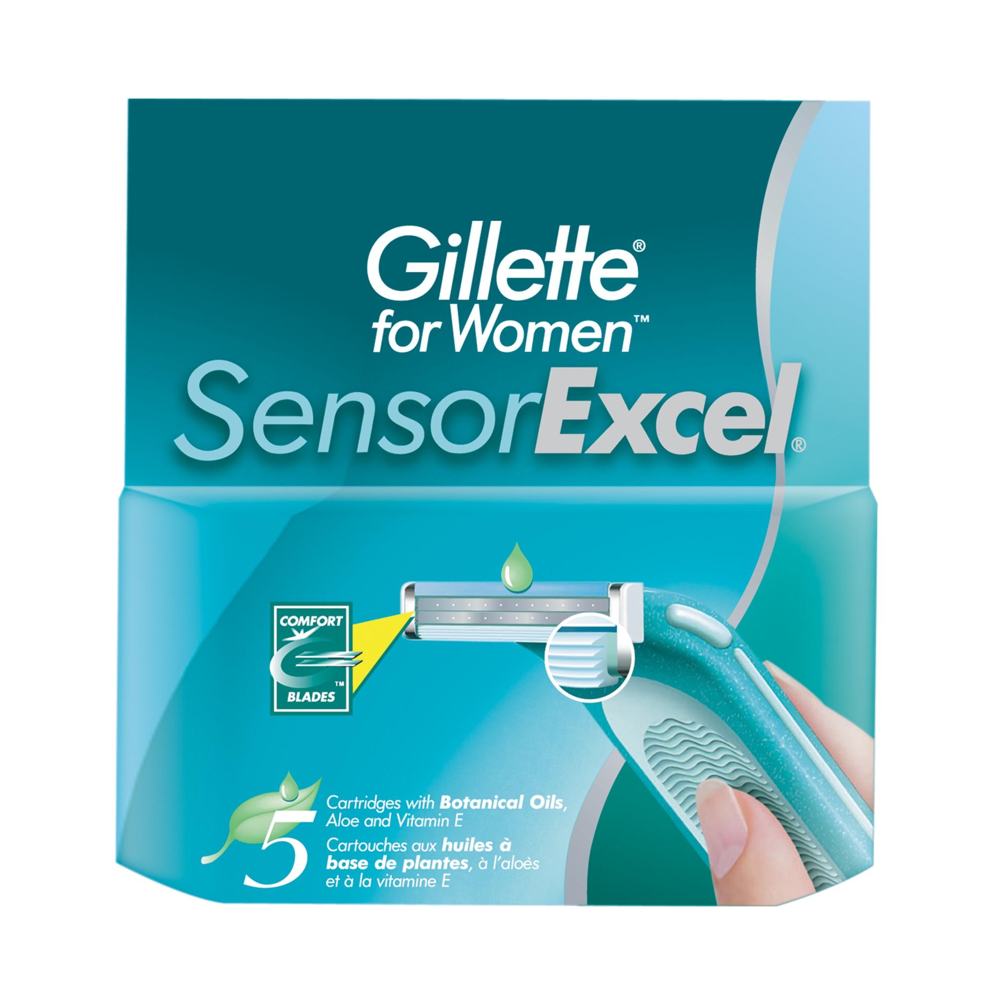 Replaceable cartridges for the Gillette Venus Sensor Excel razor, 5 pieces.
