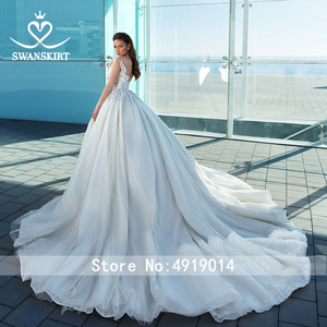 Image 2 - Glamorous Long Sleeve Princess Wedding Dress 2020 Swanskirt Appliques Ball Gown Sweetheart Beaded Bridal F307 Vestido de noiva