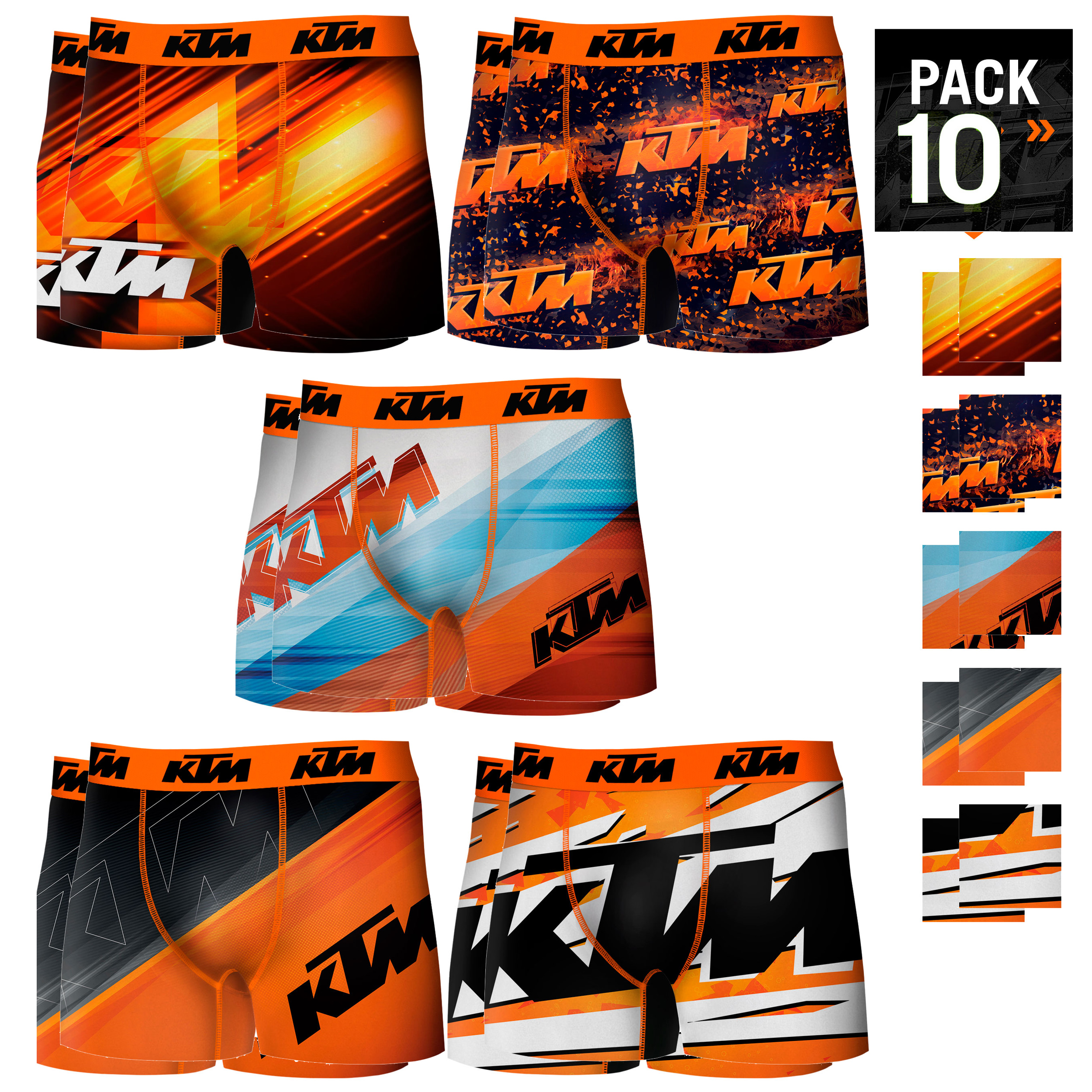 KTM Boxers Type Boxer Pack Top 10 Drives In Various Colour For Men