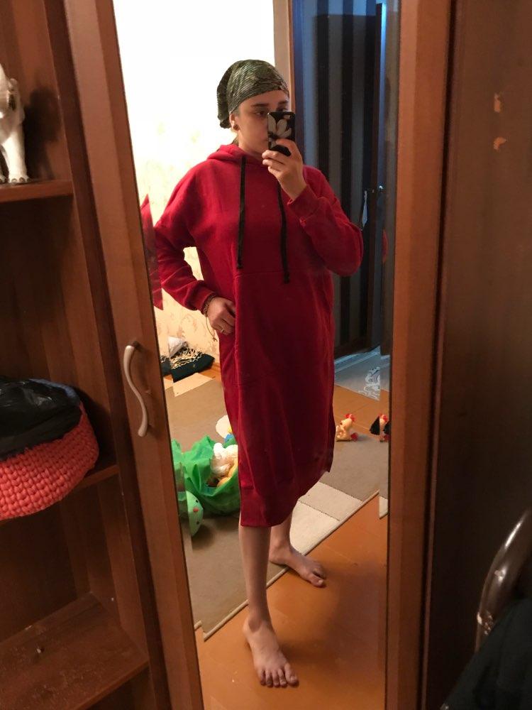 Autumn Long Sweatshirt Dress Winter Women Casual Hooded Long Sleeve Split Fleece Loose Basic Party Pullover Vestido photo review