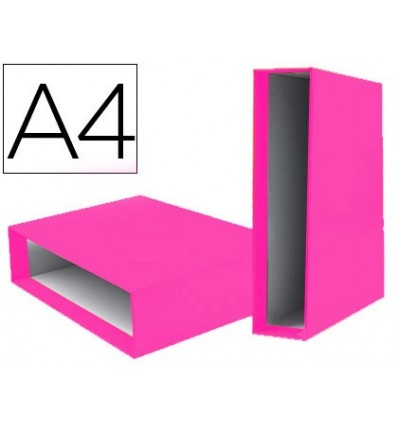 FILE BOX LEADERPAPER TOGGLE CARTON DIN A4 DOCUMENTS LOMO 75 MM PINK