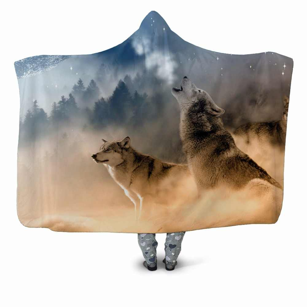 Wolf Printed Plush Hooded Blanket For Adults Kid Warm Home Blankets Double layer Fleece For Beds Wearable Camping Throw Blankets