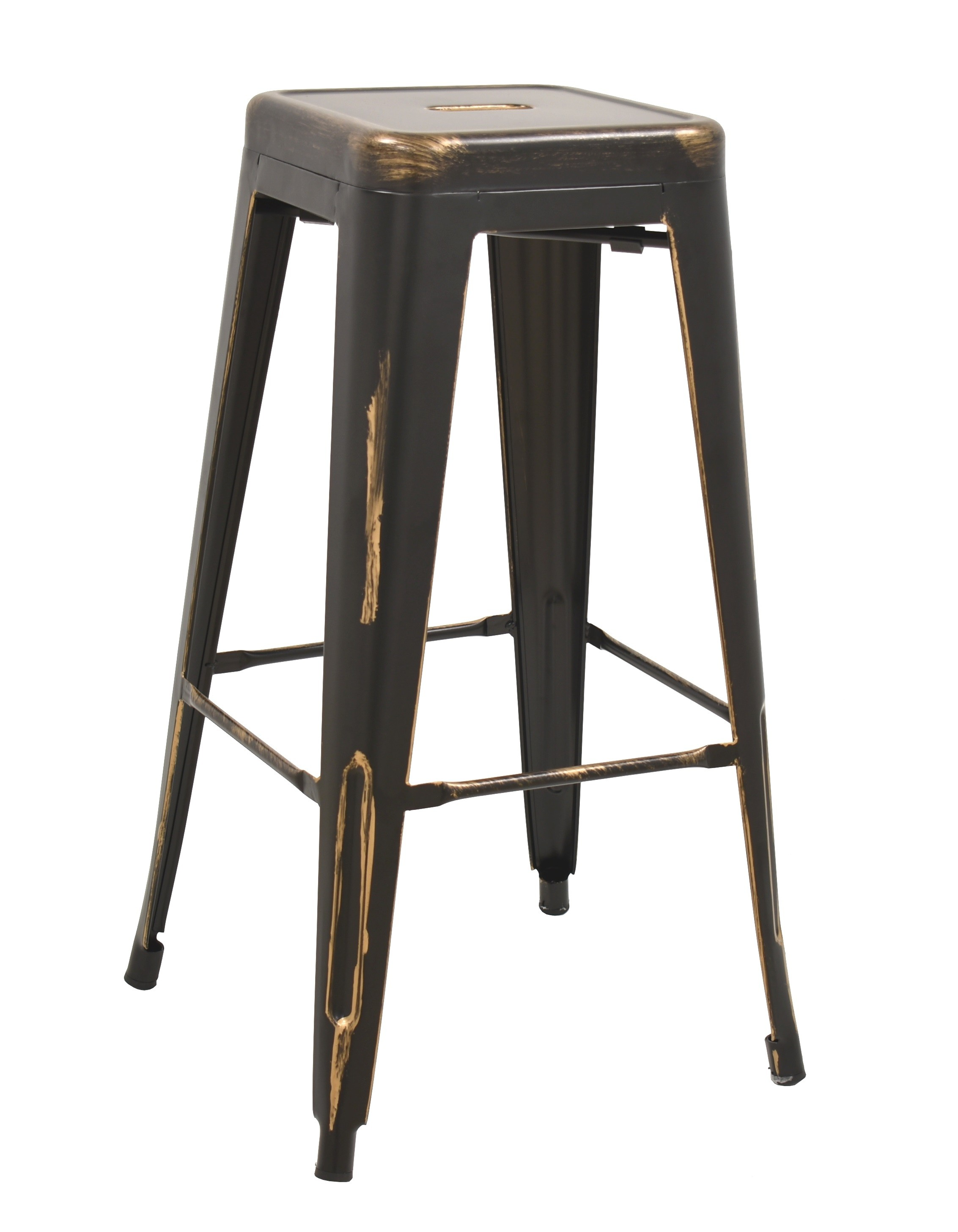 Stool TOL D RETRO, Steel, Black Brushed Gold
