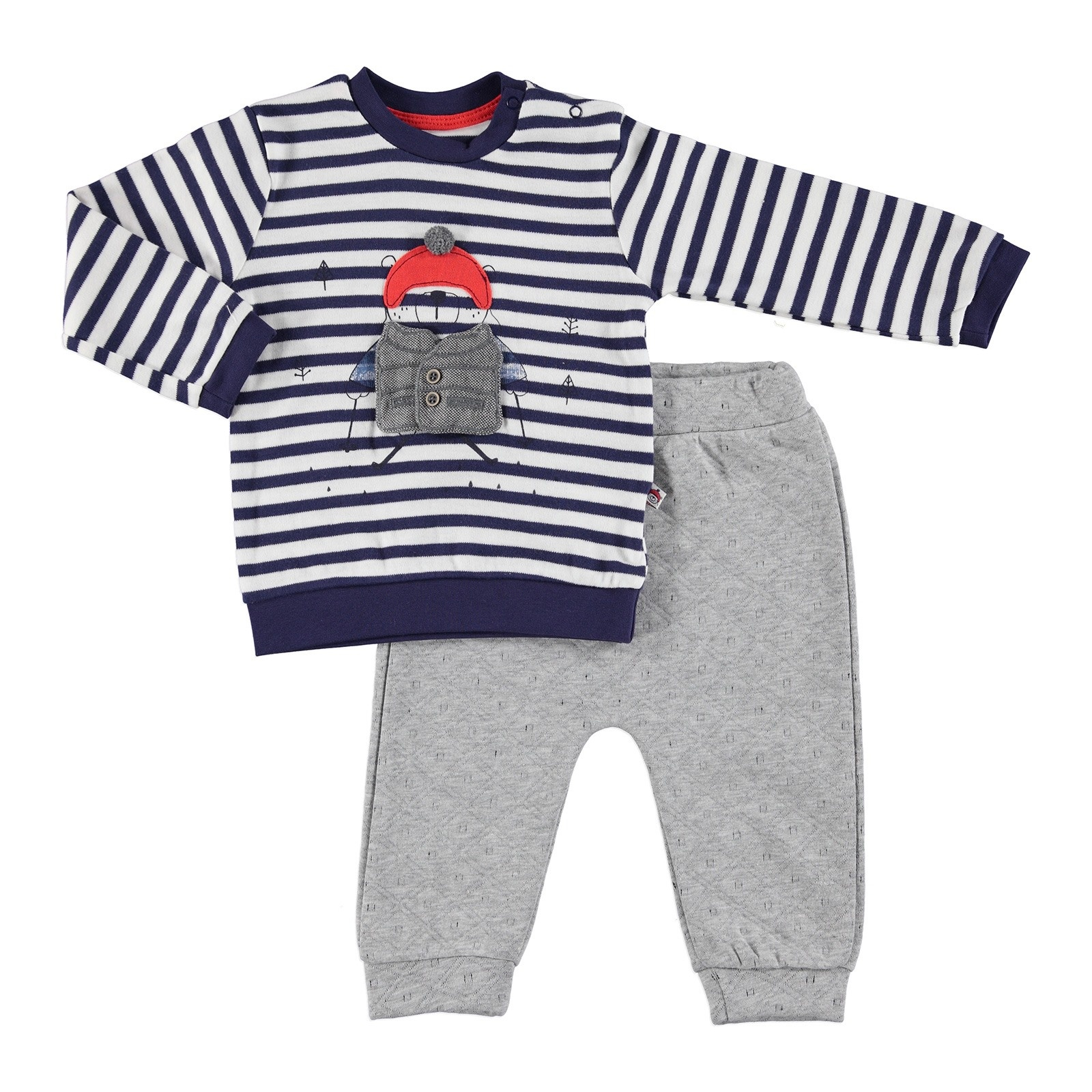 Ebebek Mymio Skateboarder Bear Baby Sweatshirt Trouser 2 Pcs Set