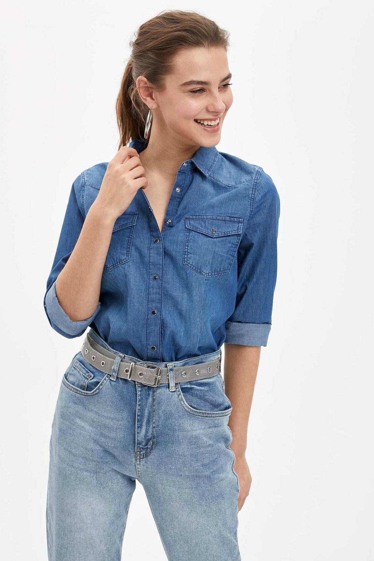 DeFacto Woman Spring Denim Shirt Women Casual Blue Shirt Women Stylish All-match Denim Shirts-L3567AZ20SP