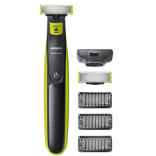 Philips QP2520/30 OneBlade Men's Shaver Hybrid Electric Trimmer and Shaver Rechargeable Wet and Dry Use 3 Snap-on Stubble Combs