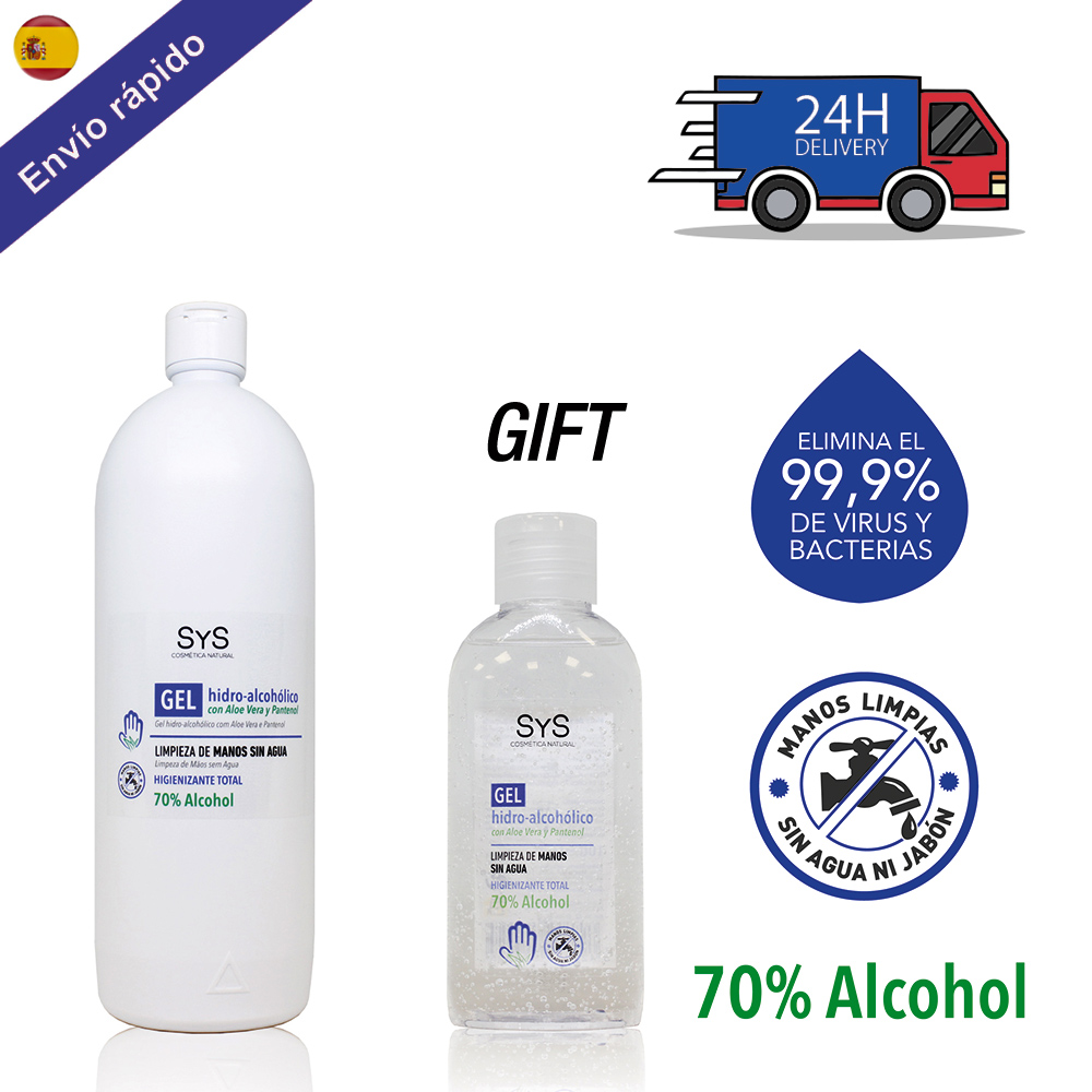 PACK GEL HIDROALCOHOLICO Hands 1 Liter + 100 ML / 70% ALCOHOL Disinfectant-ANTISEPTICO-cleaning Hands-ALCOHOL And ALOE VERA