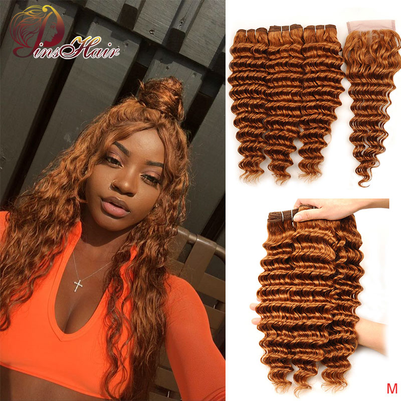 Honey Blonde Deep Wave 3 Bundles With Closure Human Hair Weave Bundles Brazilian #30 Blonde Bundles With Closure Pinshair Remy