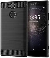 Case Sony Xperia XA2 color Black (Black), carbon series, caseport