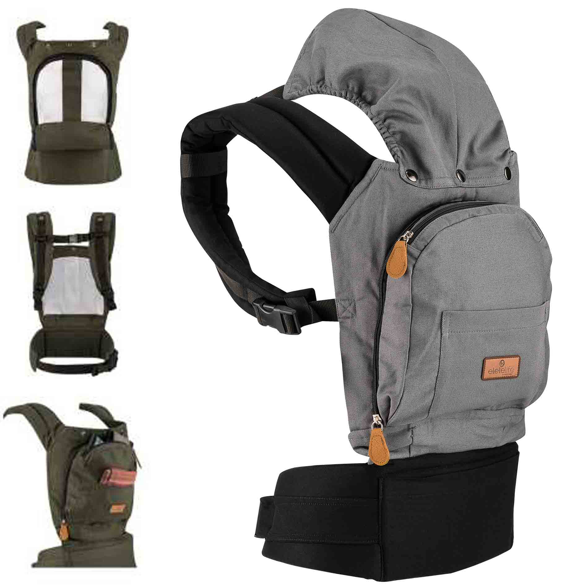 Ergonomic Kangaroo Gray Mommy Bag Easy Portable Compatible Baby 100% Breathable Cotton Fabric High Quality Sturdy