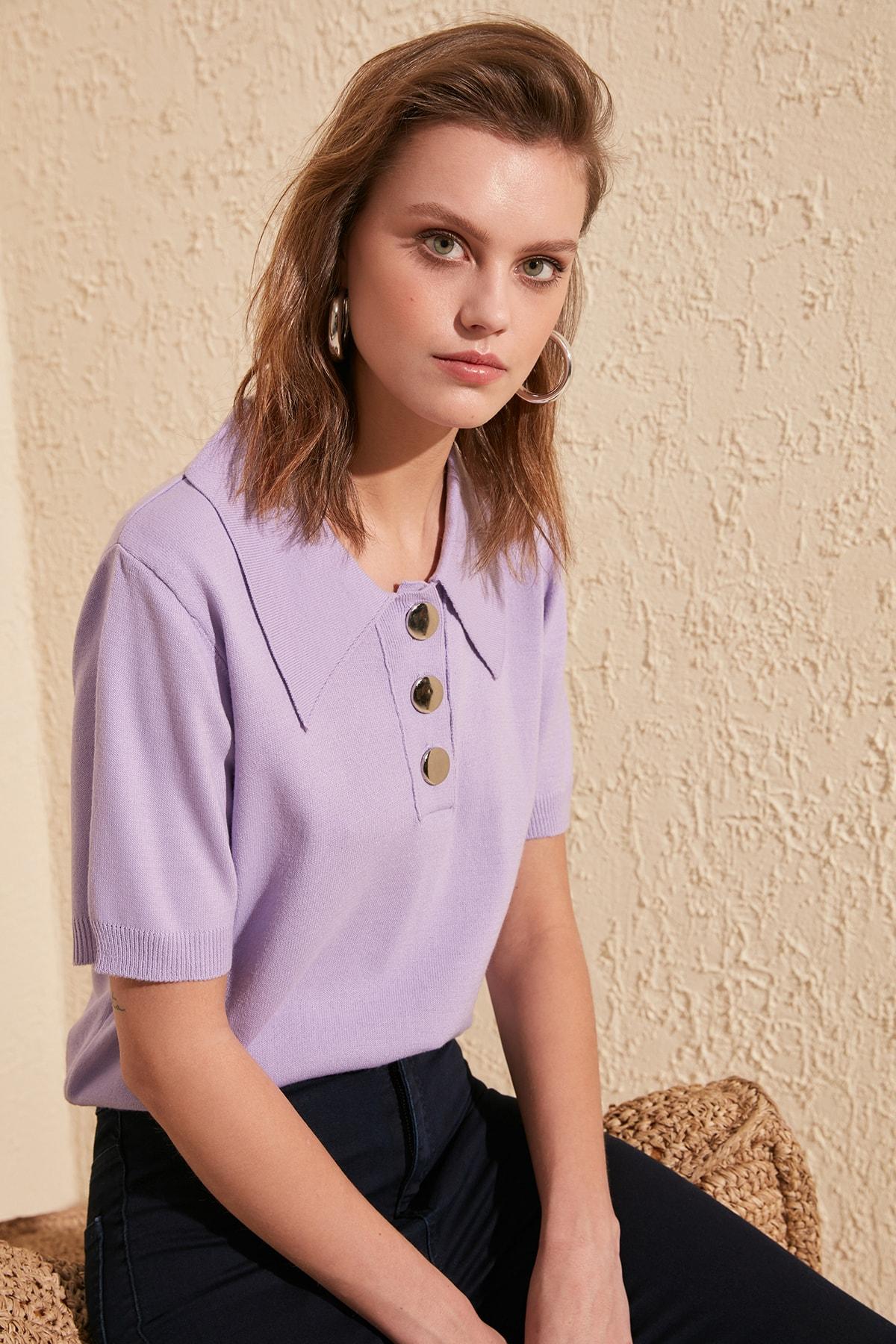 Trendyol Button Detail Polo-Neck Summer Knitwear TWOSS20KZ0069