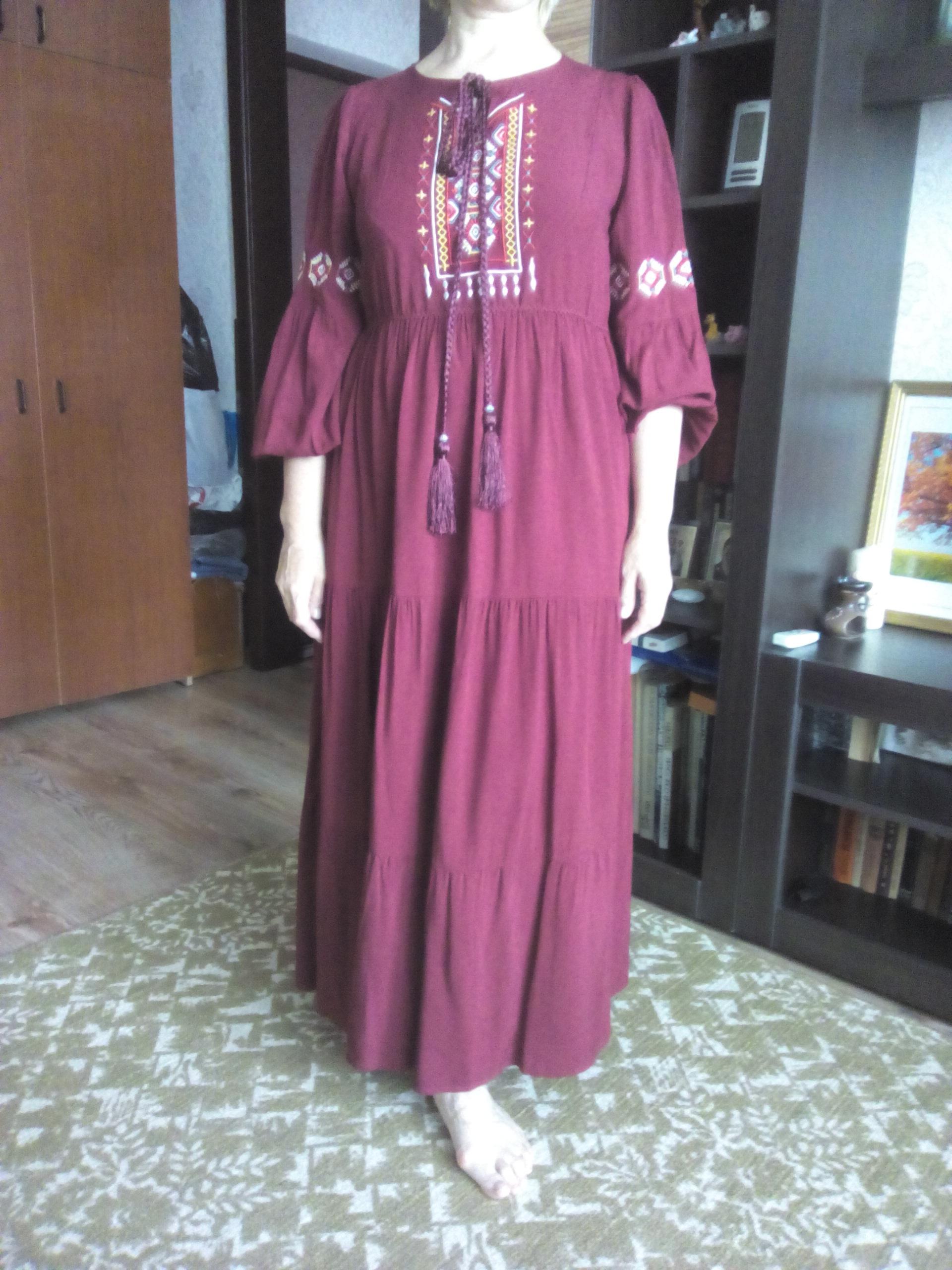 Ethnic Geometric Embroidery Long Dress Autumn Women'S Casual Maxi Dresses Long Sleeve Draped Swing Burgundy Fall photo review
