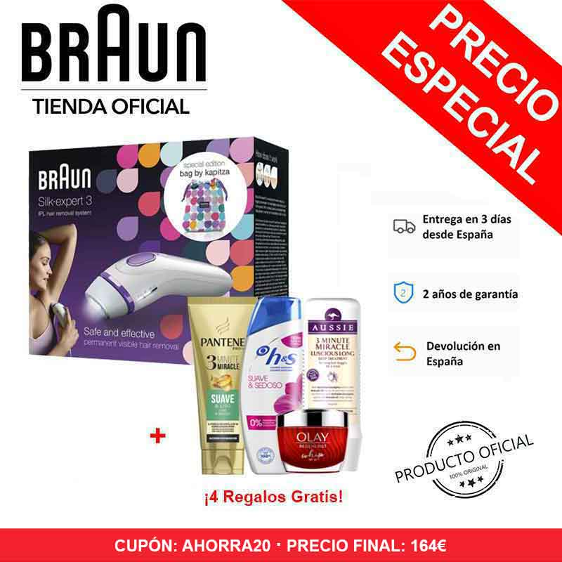 Braun Silk-expert 3 IPL BD 3006 Epilator Pulsed Light Permanent Hair Removal + Stock Exchange + Soup Cream Olay + 3 Shampoos H & S, Aussie And Pantene