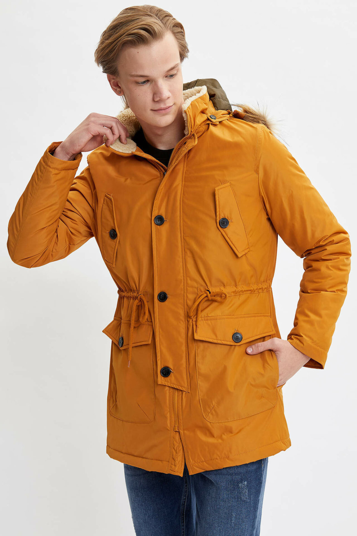 DeFacto Man Winter Yellow Long Top Coats Men Warm Hooded Parka Coats Men Casual Loose Pocket Coats-L2890AZ19WN