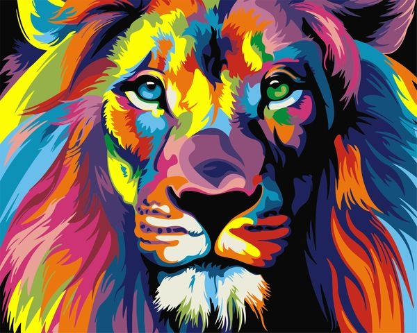 Painting On The Numbers Rainbow Lion, 40x50 Cm