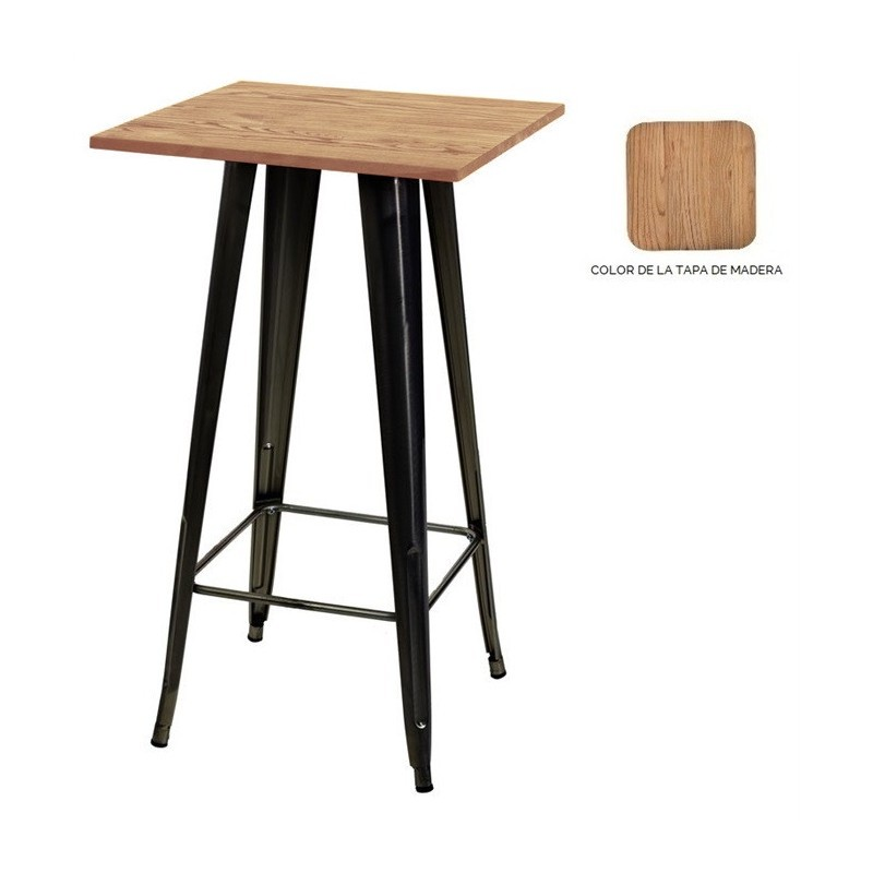 Table TOL, High, Steel, Wood, Black, 60x60 Cms