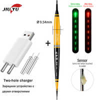 JiuYu Smart Led Fishing Float + USB Charger Rechargeable Battery Fish Bite Automatically Remind Color Change Night Fishing Buoy