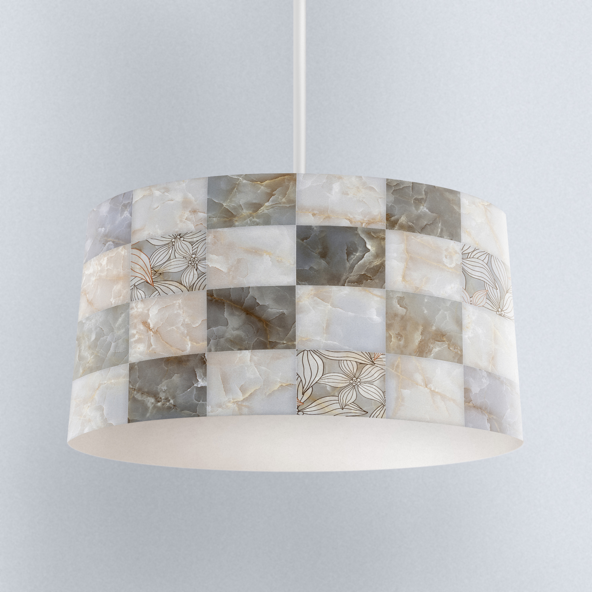 Else Gray White Marble Boxes Digital Printed Fabric Chandelier Lamp Drum Lampshade Floor Ceiling Pendant Light Shade
