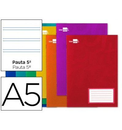 BOOK LIDERPAPEL WRITE A5 16 SHEETS 60G/M2CUADRO 5ª PATTERN 25MM WITH MARGIN 20 Units