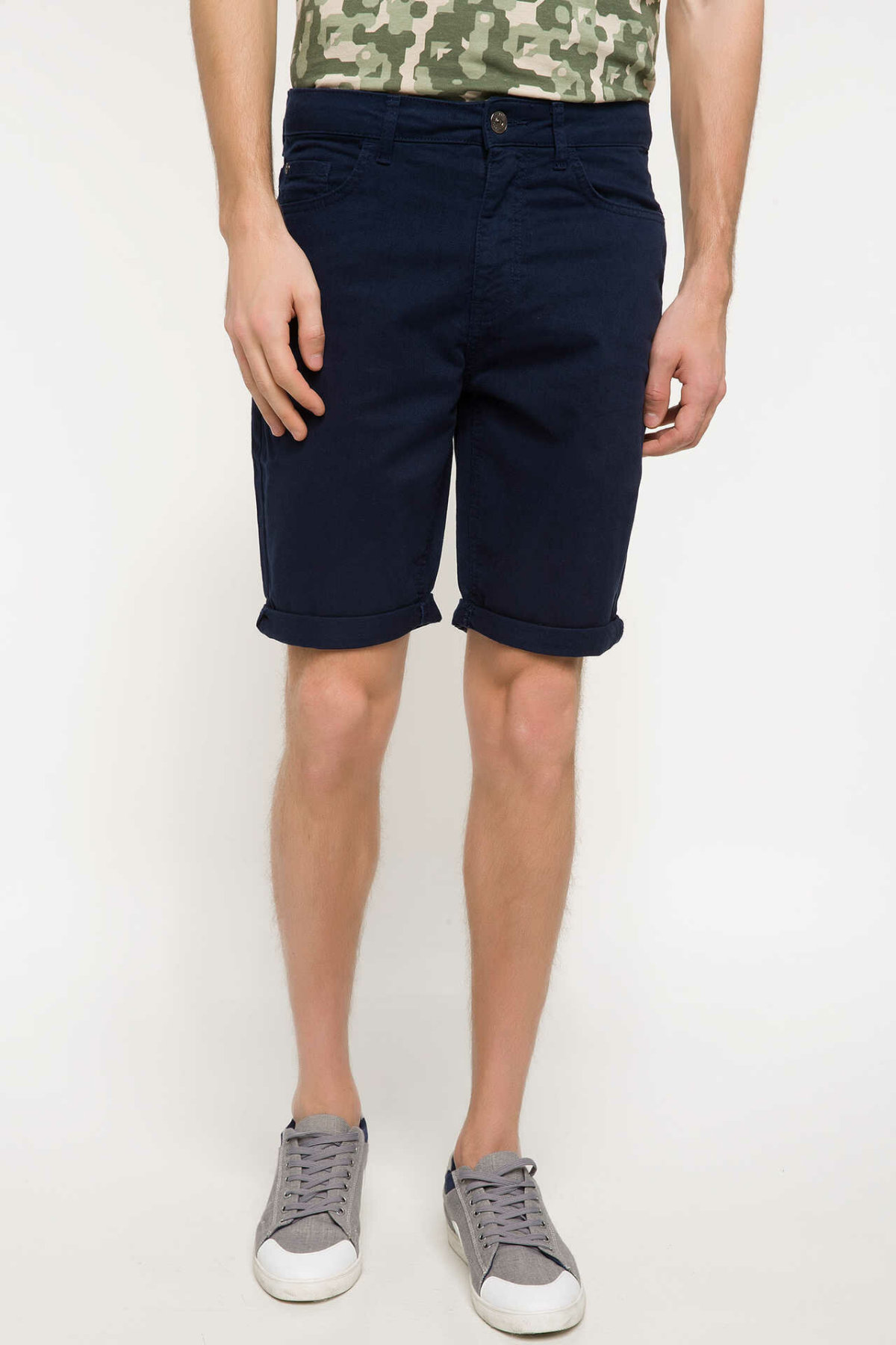 DeFacto Men Summer Casual Straight Navy Blue Shorts Woven Bottom Male Shorts Bermuda H7772AZ18SMNM26-H7772AZ18SM